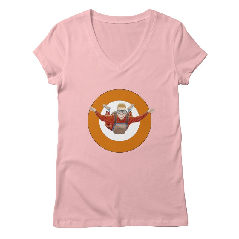 Skydiver (Orange) Women's V-Neck by RealZeal's Artist Shop