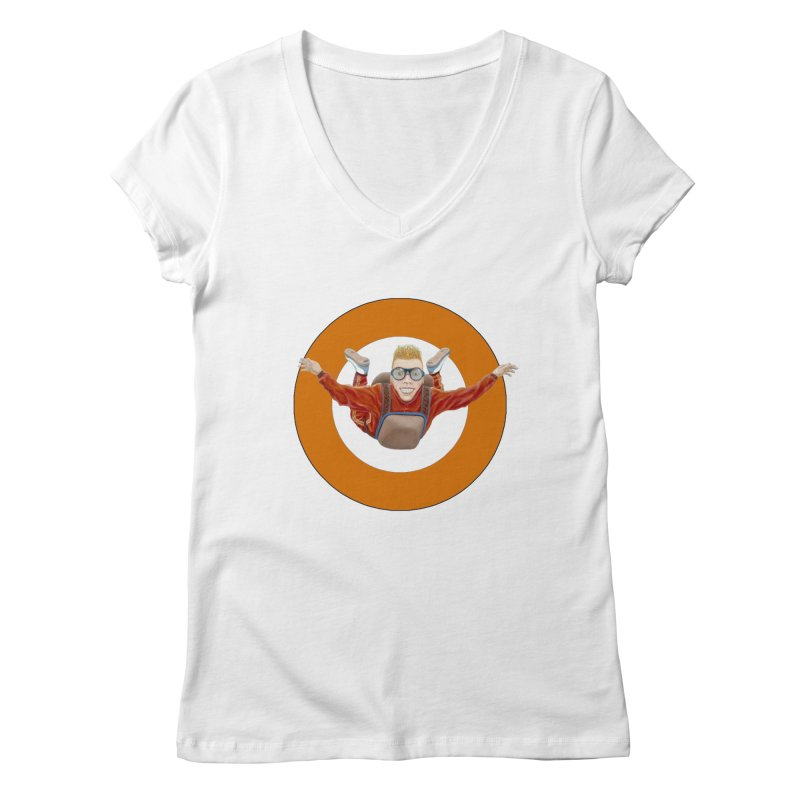 Skydiver (Orange) Women's V-Neck by RealZeal's Artist Shop