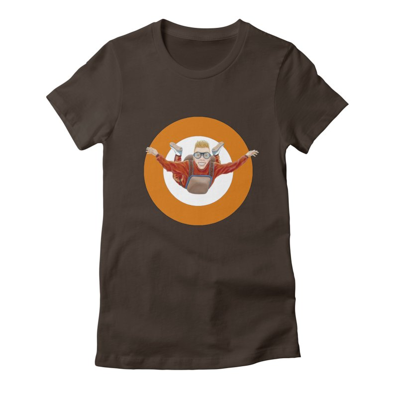 Skydiver (Orange) Women's Fitted T-Shirt by RealZeal's Artist Shop