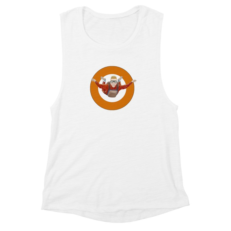 Skydiver (Orange) Women's Muscle Tank by realzeal's Artist Shop