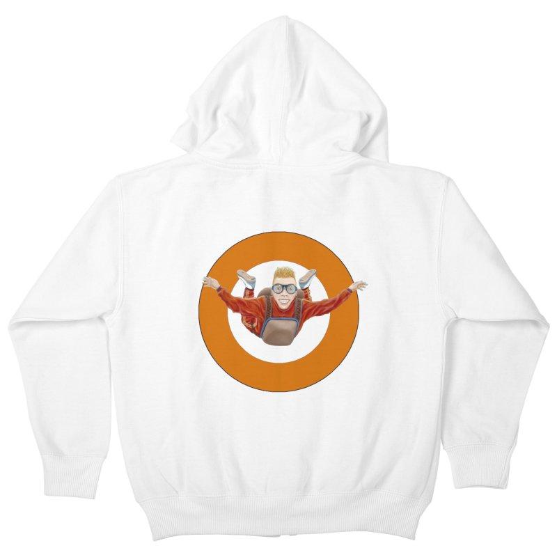 Skydiver (Orange) Kids Zip-Up Hoody by realzeal's Artist Shop