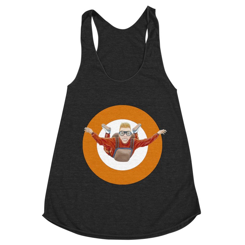 Skydiver (Orange) Women's Racerback Triblend Tank by RealZeal's Artist Shop