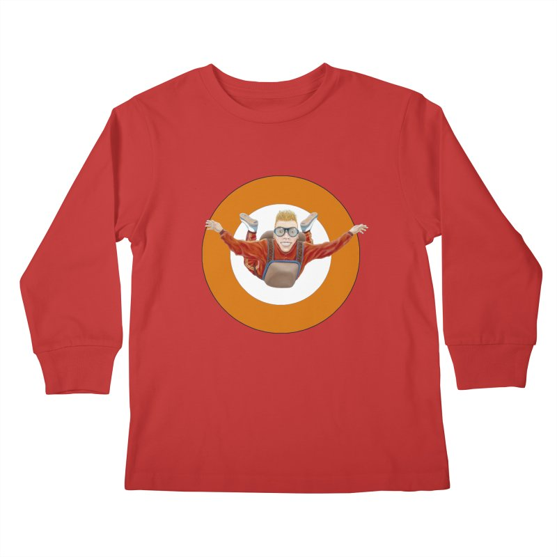 Skydiver (Orange) Kids Longsleeve T-Shirt by RealZeal's Artist Shop