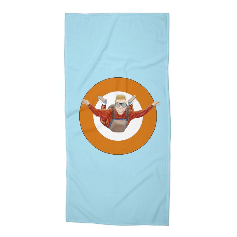 Skydiver (Orange) Accessories Beach Towel by RealZeal's Artist Shop