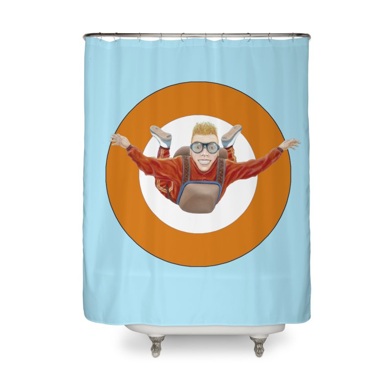 Skydiver (Orange) Home Shower Curtain by RealZeal's Artist Shop