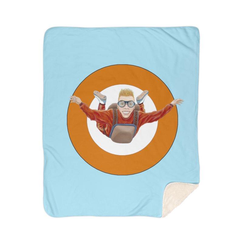 Skydiver (Orange) Home Sherpa Blanket Blanket by RealZeal's Artist Shop