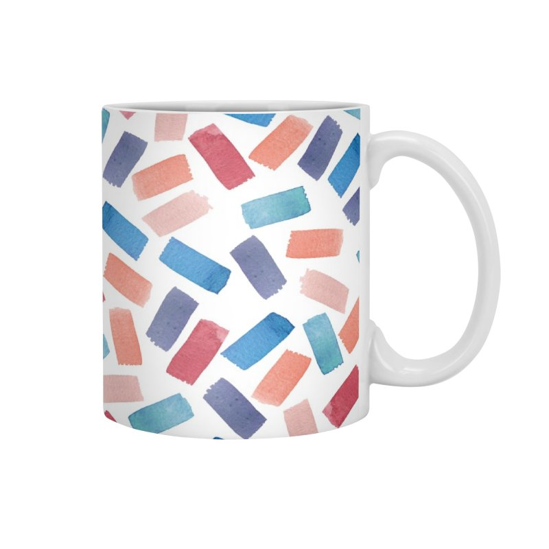 Watercolour Confetti | Coral and Blue Accessories Mug by Rebecca Flaherty's Artist Shop