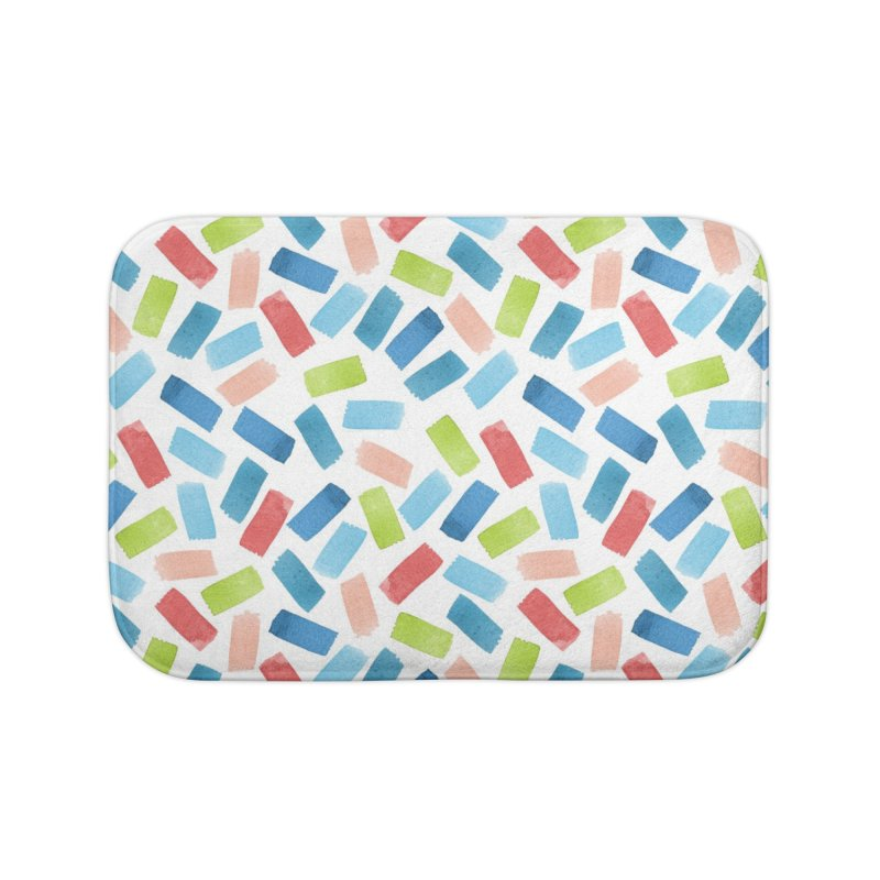 Watercolour Confetti   Pink, Blue and Green Home Bath Mat by Rebecca Flaherty's Artist Shop