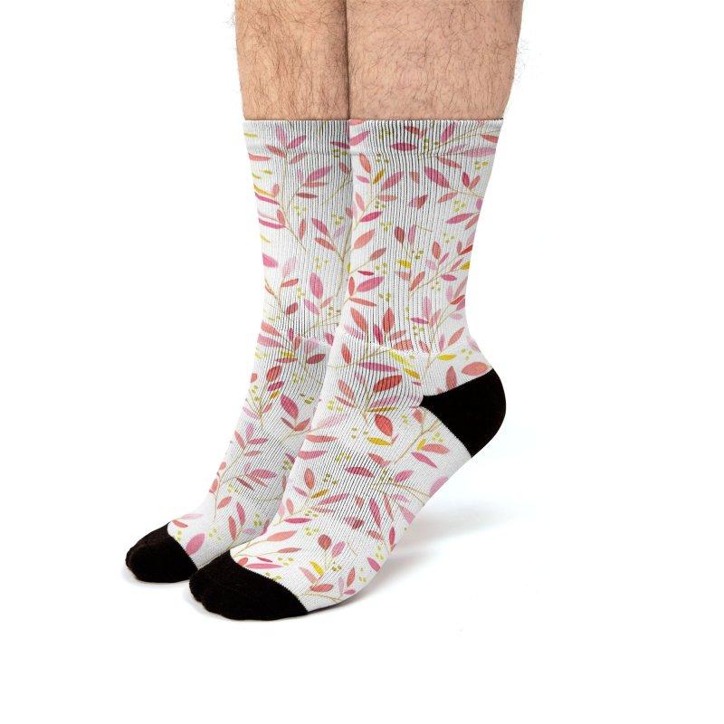 Leafy Sprigs | Pink & Lime Men's Socks by Rebecca Flaherty's Artist Shop