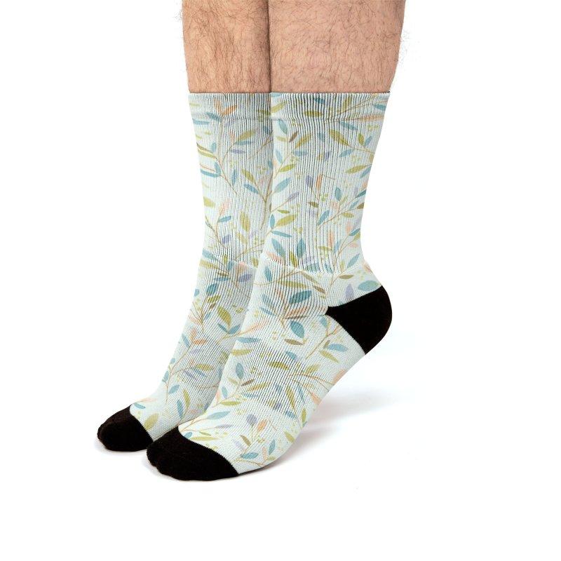 Leafy Sprigs   Peach Green Men's Socks by Rebecca Flaherty's Artist Shop