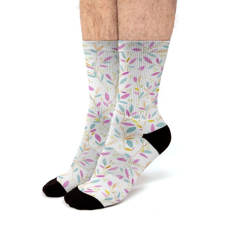 Leafy Sprigs   Purple & Teal Men's Socks by Rebecca Flaherty's Artist Shop