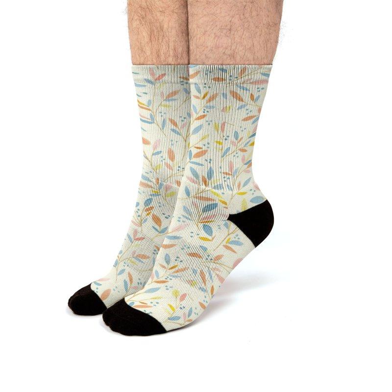 Leafy Sprigs Men's Socks by Rebecca Flaherty's Artist Shop