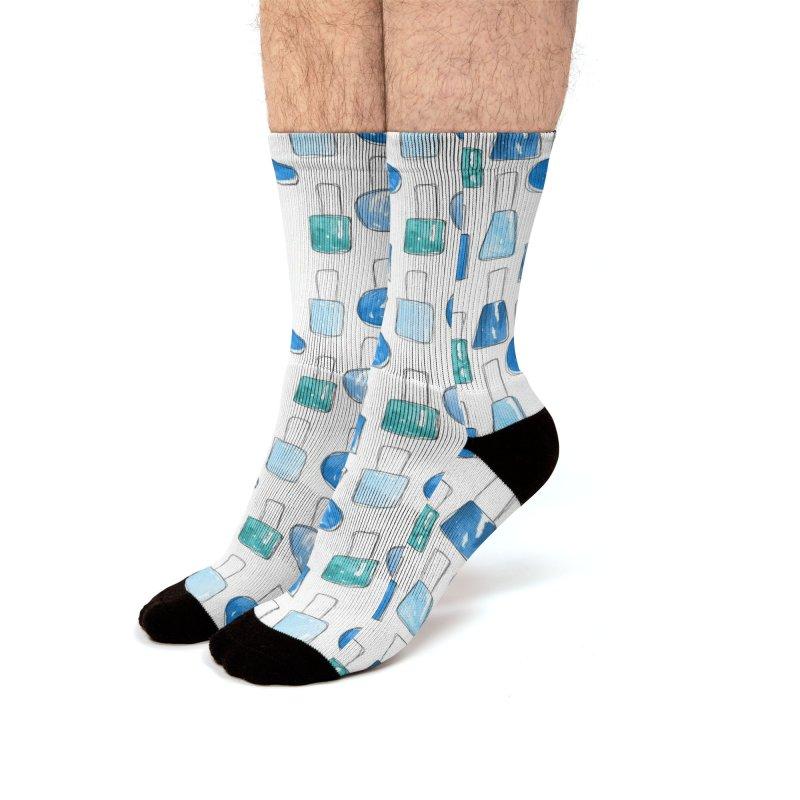 Nail Polish   Blue Men's Socks by Rebecca Flaherty's Artist Shop