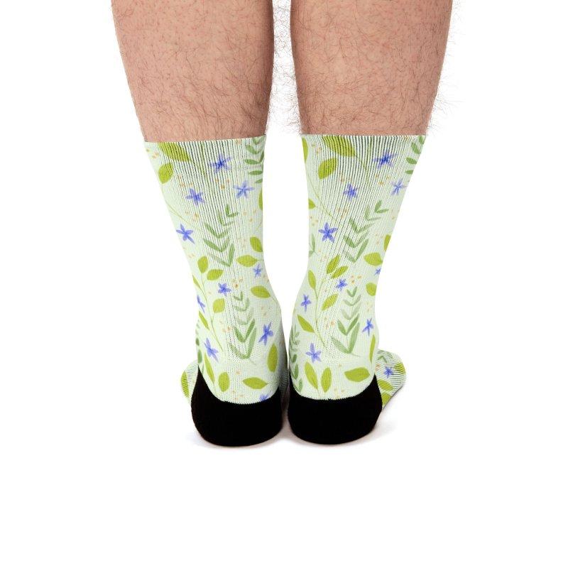 Delicate Floral Pattern | Green Men's Socks by Rebecca Flaherty's Artist Shop