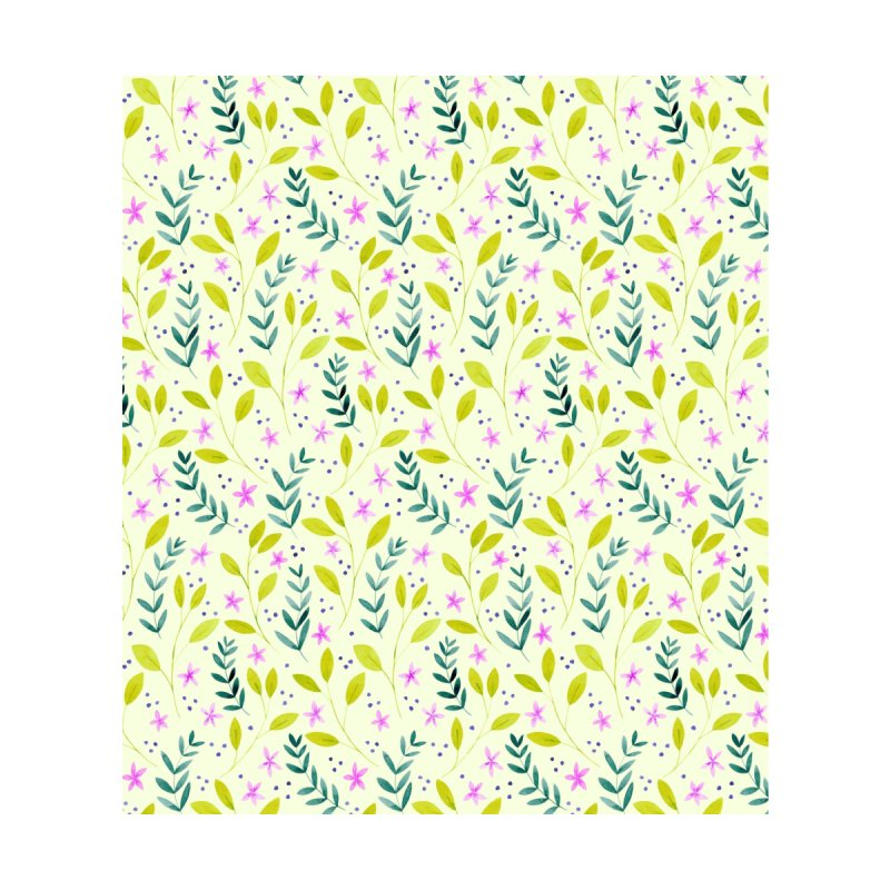 Delicate Floral Pattern | Green and Pink Accessories Zip Pouch by Rebecca Flaherty's Artist Shop