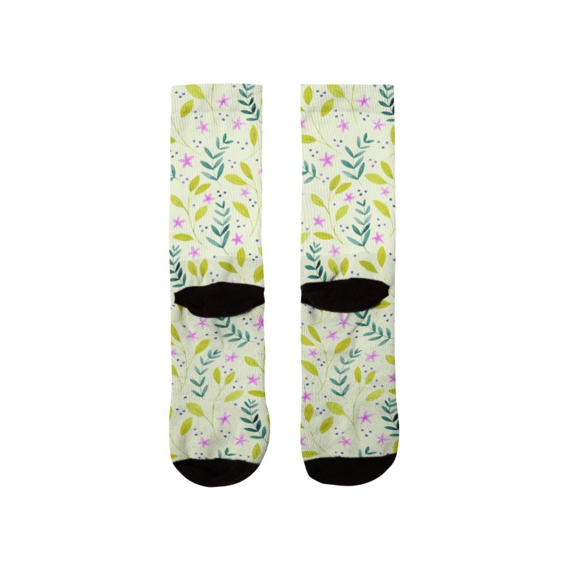 Delicate Floral Pattern | Green and Pink Men's Socks by Rebecca Flaherty's Artist Shop