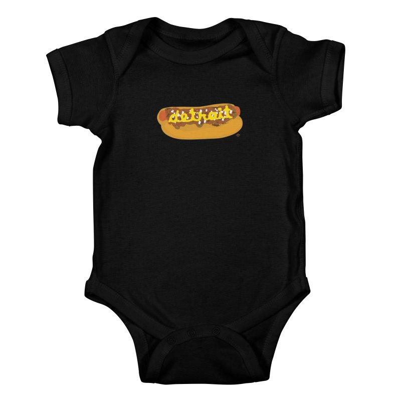 Detroit Coney Dog Kids Baby Bodysuit by R E B E C C A  G O L D B E R G