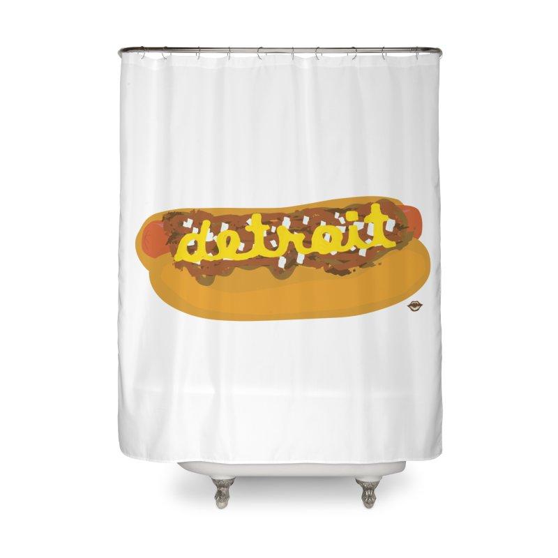 Detroit Coney Dog Home Shower Curtain by R E B E C C A  G O L D B E R G