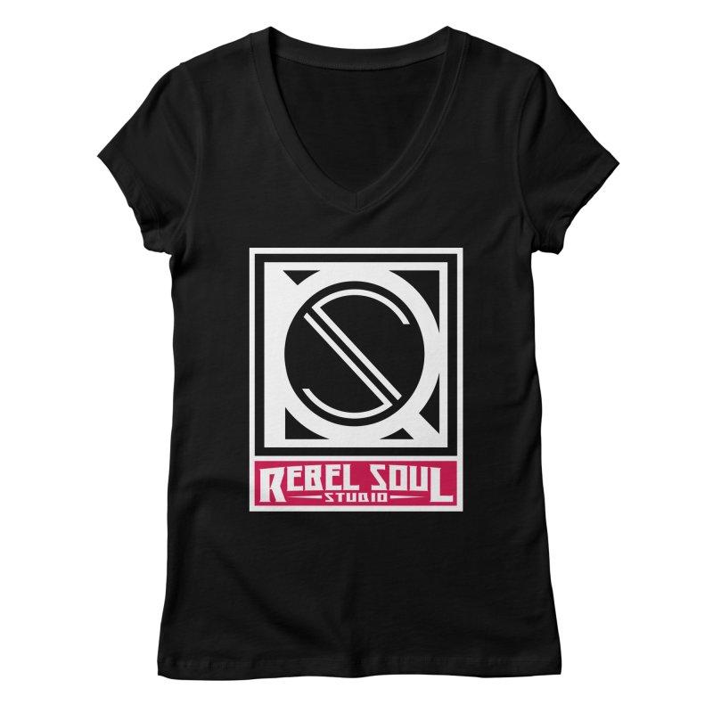 Rebel Soul Classic Logo  Women's Regular V-Neck by rebelsoulstudio's Artist Shop