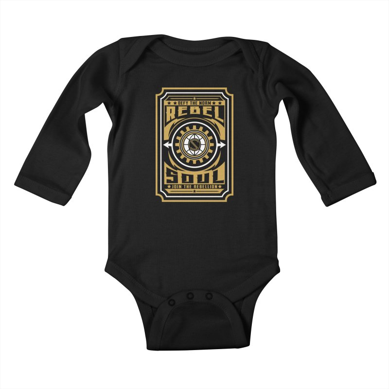 Defy the Norm - Gold and White Kids Baby Longsleeve Bodysuit by rebelsoulstudio's Artist Shop