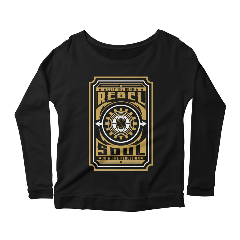 Defy the Norm - Gold and White Women's Scoop Neck Longsleeve T-Shirt by rebelsoulstudio's Artist Shop