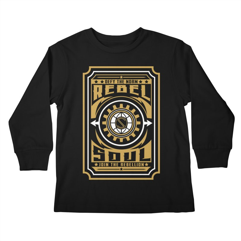 Defy the Norm - Gold and White Kids Longsleeve T-Shirt by rebelsoulstudio's Artist Shop