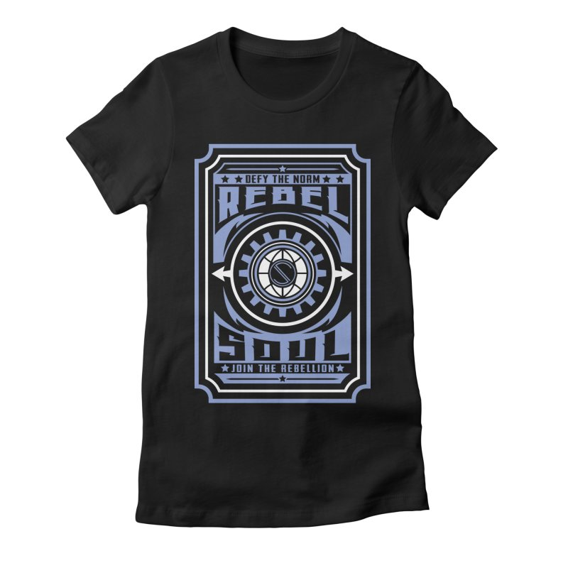 Defy the Norm - Blue and White Women's Fitted T-Shirt by rebelsoulstudio's Artist Shop