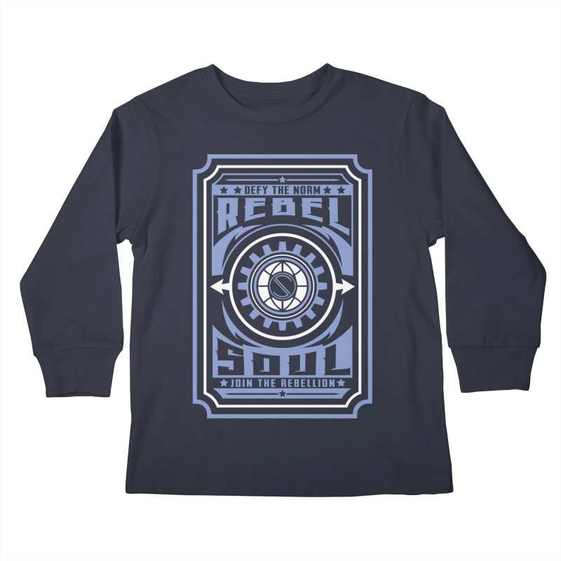 Defy the Norm - Blue and White Kids Longsleeve T-Shirt by rebelsoulstudio's Artist Shop