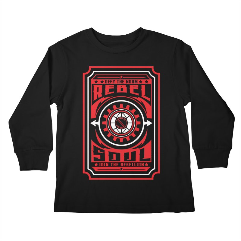Defy the Norm - Red and White Kids Longsleeve T-Shirt by rebelsoulstudio's Artist Shop