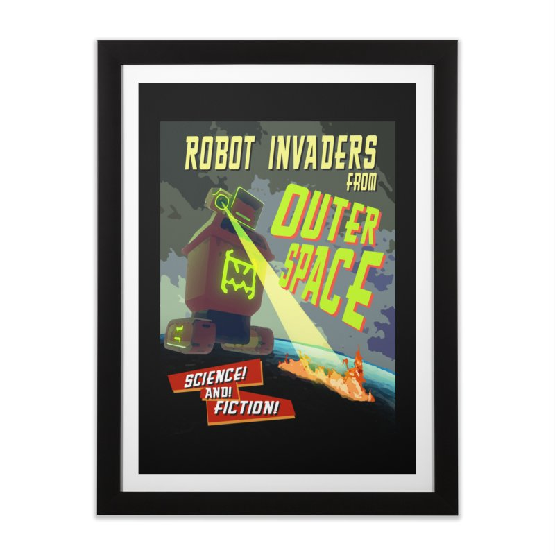 Robot invaders from outer space poster Home Framed Fine Art Print by Rec Room Official Gear