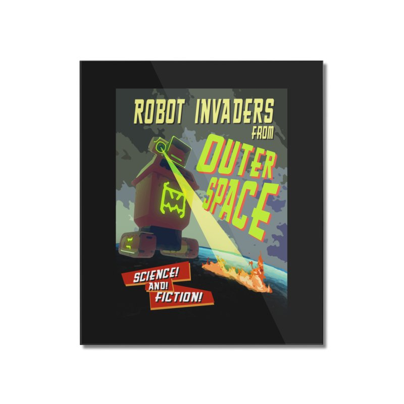 Robot invaders from outer space poster Home Mounted Acrylic Print by Rec Room Official Gear