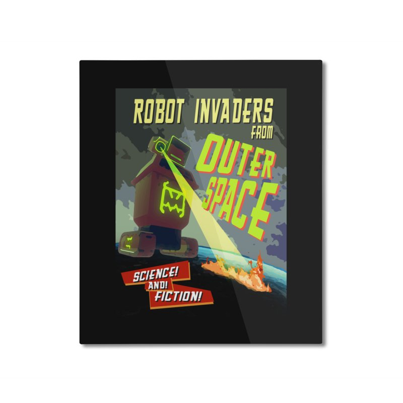 Robot invaders from outer space poster Home Mounted Aluminum Print by Rec Room Official Gear