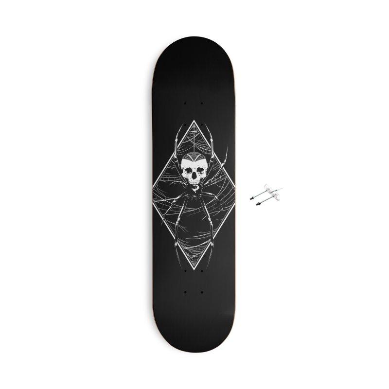 Webs & Skull Accessories Skateboard by Red Apple Tees