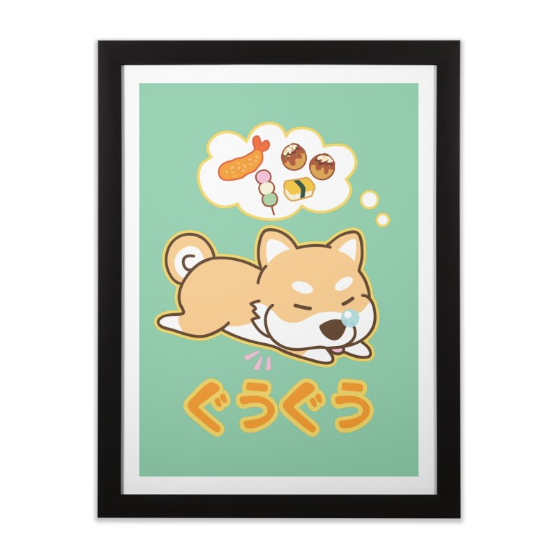 A Dog's Delectable Dreams (Shiba Inu Wan Wan) Home Framed Fine Art Print by Redbeanfiend's Artist Shop
