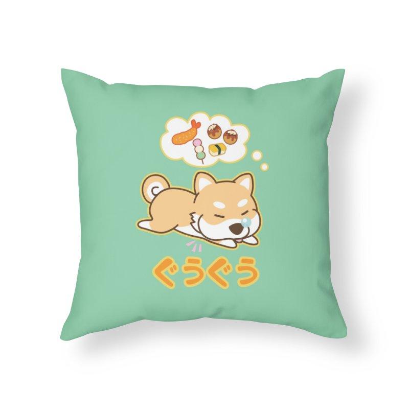 A Dog's Delectable Dreams (Shiba Inu Wan Wan) Home Throw Pillow by Redbeanfiend's Artist Shop