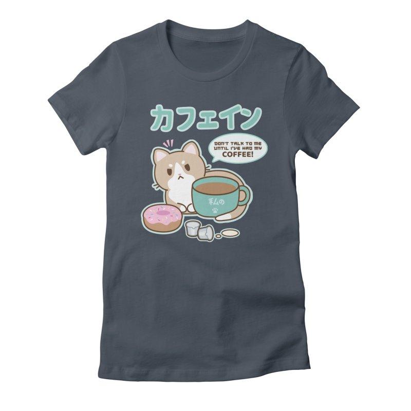 Kafein the Cat + Coffee Women's T-Shirt by Redbeanfiend's Artist Shop