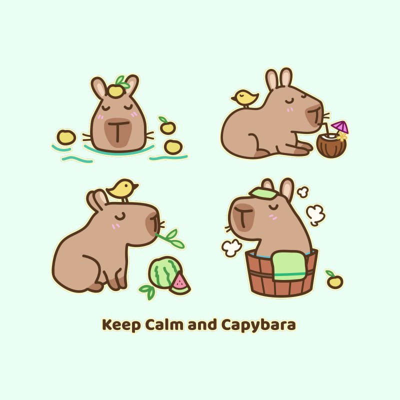 Keep Calm and Capybara Women's T-Shirt by Redbeanfiend's Artist Shop