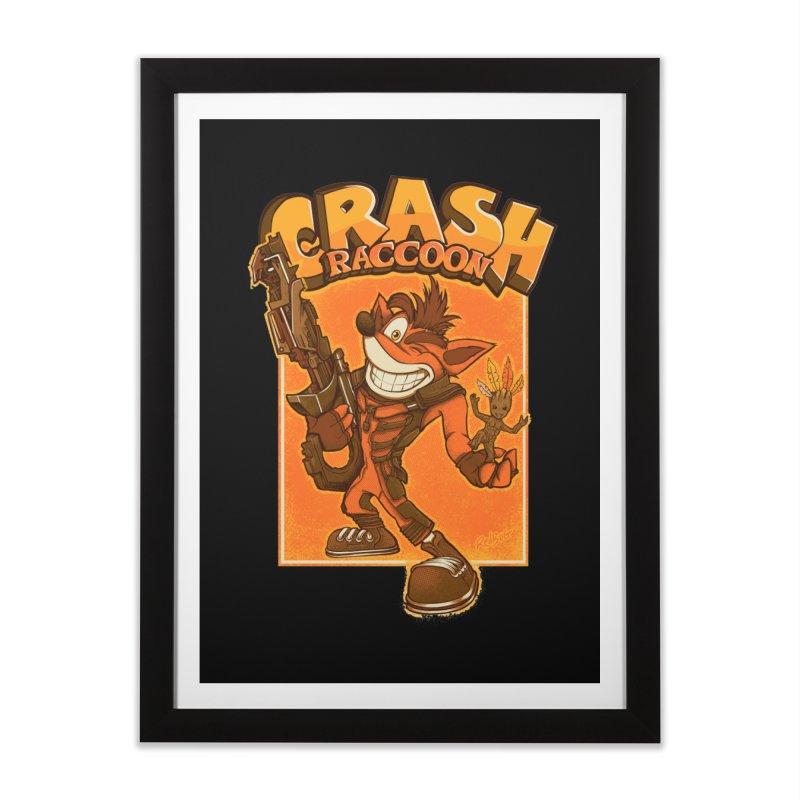 Crash Raccoon Home Framed Fine Art Print by Red Bug's Artist Shop