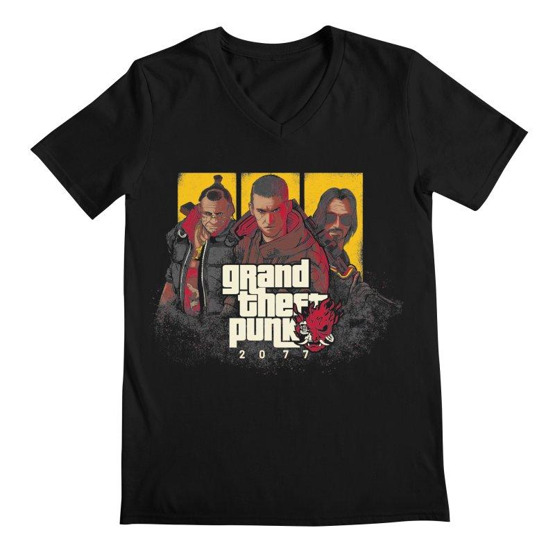 Grand Theft Punk Men's Regular V-Neck by Red Bug's Artist Shop