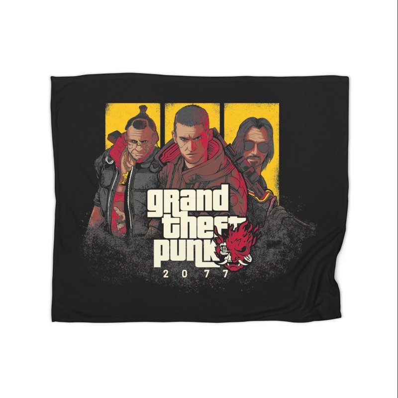 Grand Theft Punk Home Fleece Blanket Blanket by Red Bug's Artist Shop