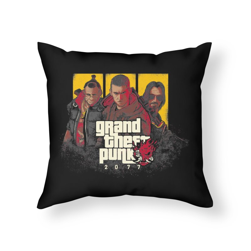 Grand Theft Punk Home Throw Pillow by Red Bug's Artist Shop