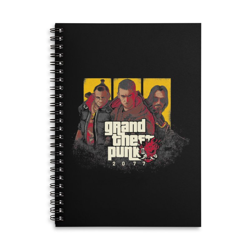 Grand Theft Punk Accessories Lined Spiral Notebook by Red Bug's Artist Shop