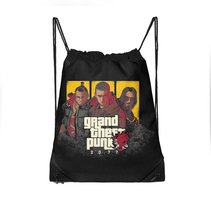Grand Theft Punk Accessories Drawstring Bag Bag by Red Bug's Artist Shop