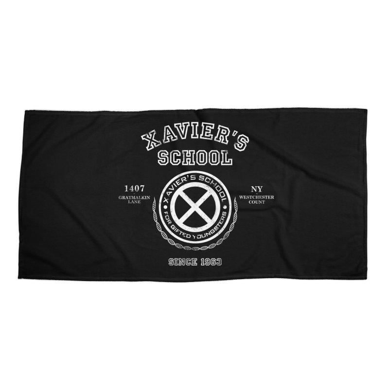 Xavier's School Accessories Beach Towel by Red Bug's Artist Shop
