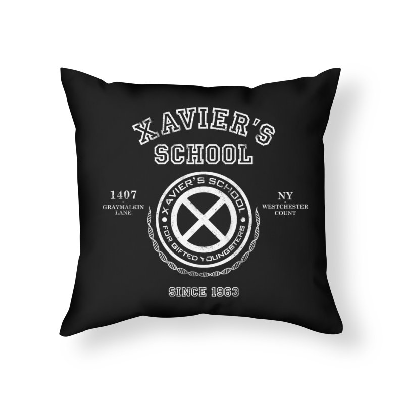 Xavier's School Home Throw Pillow by Red Bug's Artist Shop