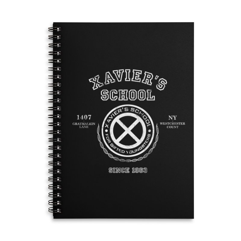 Xavier's School Accessories Lined Spiral Notebook by Red Bug's Artist Shop