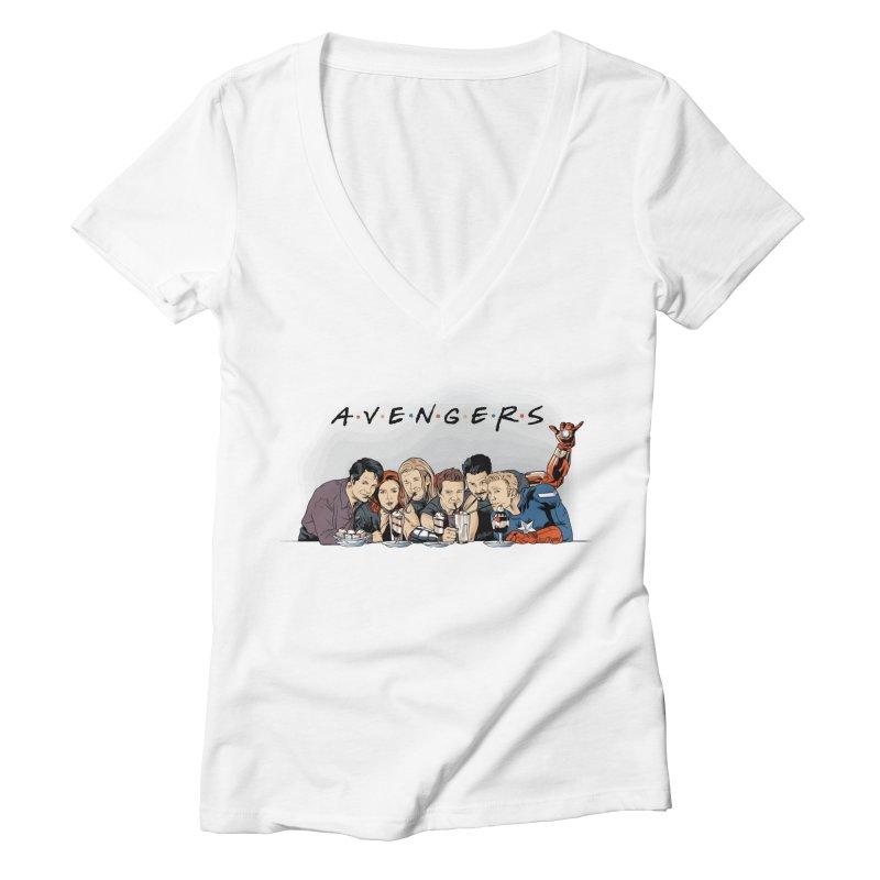 Avengers Women's Deep V-Neck V-Neck by Red Bug's Artist Shop