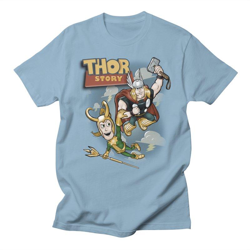 Thor Story in Men's Regular T-Shirt Light Blue by Red Bug's Artist Shop