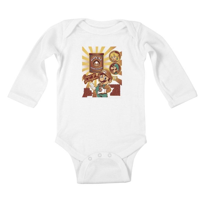 Royal Mushrooms Kids Baby Longsleeve Bodysuit by Red Bug's Artist Shop