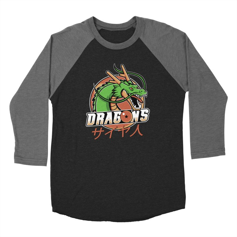 Dragons in Men's Baseball Triblend Longsleeve T-Shirt Grey Triblend Sleeves by Red Bug's Artist Shop